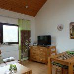 Helles Wohnzimmer mit Küchenzeile und Essecke und Seeblick inklusive